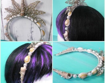 mermaid crown - mermaid headband, mermaid costume, shell headband, beach wedding, faerie tiara, elven tiara, mermaid accessory, headpiece