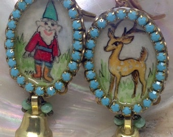 Lilygrace Christmas Gnome and Deer Handpainted Cameo Earrings with Vintage Glass Pearls and Vintage Brass Bells