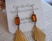 Brass Triangle Fan Earrings, Art Deco, Long,Topaz Rectangle, Modern Earrings, Gardendiva