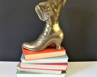 Vintage brass shoe / vintage brass / vintage shoe / bookend / door stop