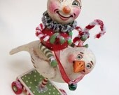 Flying Fiordi - Hand sculpted, OOAK, original paper mâché, Holiday, Winter, Christmas, dove, snow boy by artist Alycia Matthews