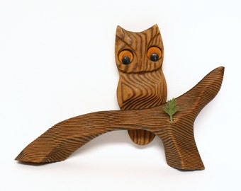 Vintage Carved Wooden Owl on Tree Branch Wall Hanging