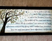 Faith Christian wood sign with verse from He is jealous for me, loves like a hurricane, I am the tree.  Tree sign, nature, song, bible print