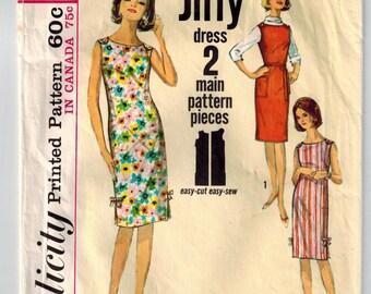 Vintage 60s Scoop Neck Summer Dress or Jumper Sewing Pattern Sz 16 Bust 36 Buttoned Shoulders Tie Belt Side Slits Bows Patch Pocket Jiffy