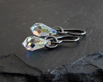 Swarovski Crystal Earrings: blackened Sterling silver, Crystal AB, icicle drops, black and white jewelry, leaded glass, small dangle