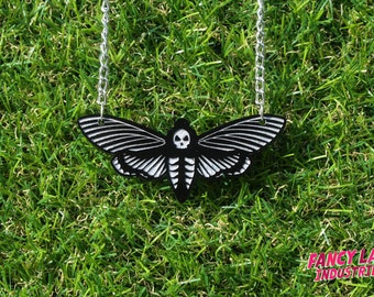 Death's Head Moth Necklace, Laser Cut Jewelry, Steampunk Necklace, Goth Necklace