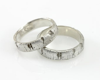 Matching Aspen Tree Bark Wedding Rings in Recycled Silver, Recycled Silver Ring Set, His and His Hers and Hers Matching Wedding Band Set