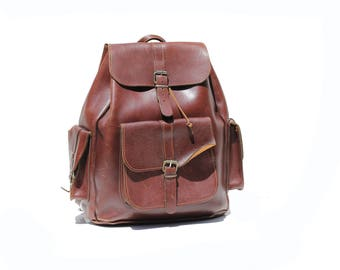 Vintage Large Brown Leather Travel Backpack