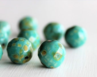 15 Green Turquoise Picasso Faceted 12mm Czech Glass Rounds