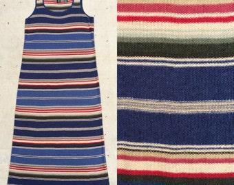 vintage Ralph Lauren serape stripe linen cotton blend knit lounge dress