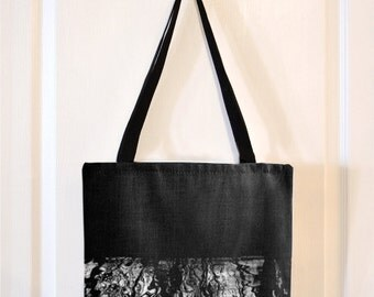 Black and White Abstract Tree Reflections in Water Canvas Tote Bag