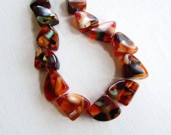 orange Resin Beads,  chunky Confetti Resin nugget  multicolored speckled statement  indonesia  (2 beads ) 28 x32mm 6CB2-3