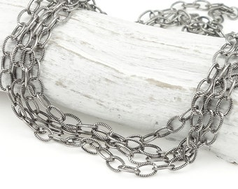 Dark Antique Silver Chain Silver Plated TierraCast Delicate Embossed Cable Chain Loose Unfinished Jewelry Chain Necklace Chain 20-1525-12