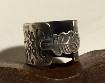 Sterling Silver Ring Open Band Hand Stamped Feather  - Made to Order
