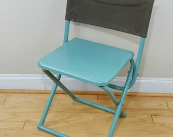 Vintage Metal Military Folding Chair Canvas Back Mint Olive