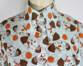 1970s Cry Baby Face Shirt - fantastic all over novelty print - lips hands deco surreal girl girly