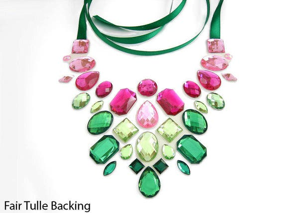 pink and green statement necklace rhinestone illusion