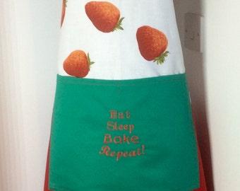 Baking apron,Ladies baking apron- Eat Sleep Bake Repeat embroidered apron OOAK