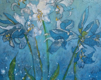 "Abstract Floral Giclee Art Print by Shelley Detton, ""Lilies in Blue"" Impressionist Painting Blue Flowers, Home Decor Fine Art Print"
