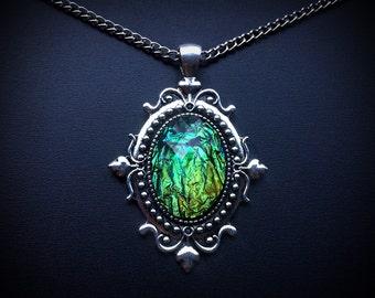 Multicolor Black Faux Opal Necklace - Opal Jewelry - Opal Pendant - Black Opal - Victorian Jewelry - Unique Jewelry - Fire Opal