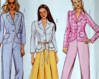 Butterick 4749 Sewing Pattern, Misses Jacket, Skirt and Pants, Size 8-10-12-14, Bust 31.5-32.5-34-36, Uncut FF, Spring Suit, Career Wear
