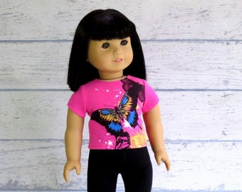 Pink Sparkle Butterfly Tee Shirt fits 18 inch Doll