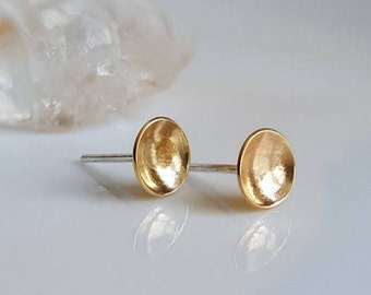 Gold Brass Moons Studs, Unisex Studs, Gold Discs, Domed Discs, Round Studs, Gold Post Earrings, Men's Gold Studs, Women's Gold Post Earrings