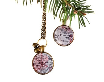 Custom Map Ornament, Christmas Ornament, Tree, Gift, Travel, City, Personalized, Gift under 20, Secret Santa, Jingle Bells, Stocking Stuffer