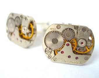 Valentines Day Gift Steampunk Cufflinks with Rubies, Watch Cufflinks, Watch Movement Cufflinks, Handmade silver plated