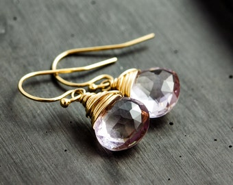 Pink Amethyst Earrings, Amethyst Earrings, February Birthstone, Drop Earrings, Dangle Earrings, Pastel Pink, Rose, Gold Earrings, PoleStar
