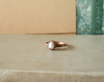 Pearl Ring Electroformed Copper Size 8.5