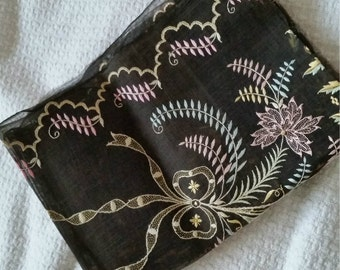Embroidered Victorian Veil, Sheer Black Silk Multicolor, display study pattern only fragile