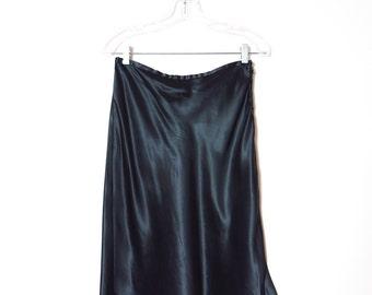 Vintage Black Skirt | 1980s Black Satin The Limited Skirt M