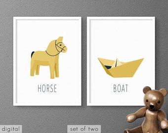 Swedish Dala Horse & Paper Boat Printables Yellow Baby Room Nursery Decor Minimalist Kids Wall Art Toddler Gift Modern Folk Poster Set of 2