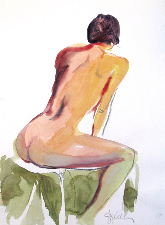 Nude painting- Original watercolor painting of Nude #1368 by Gretchen Kelly