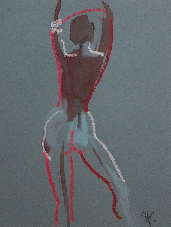 Nude painting of One minute pose 100.1 Original nude painting by Gretchen Kelly