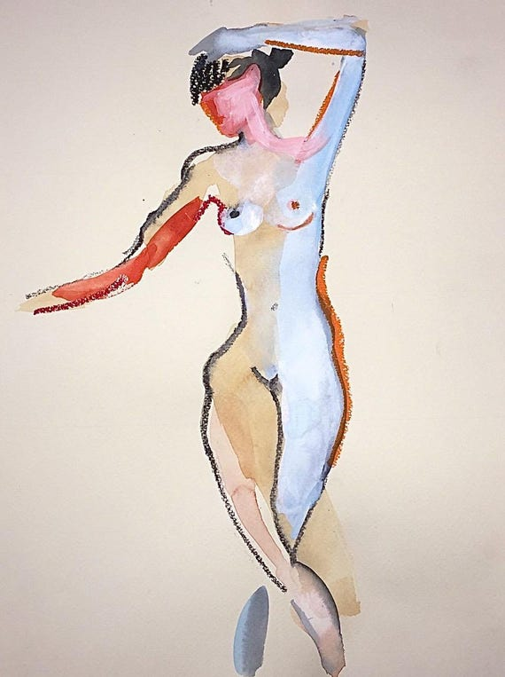 Nude painting- One Minute Pose 98.6 -painted sketch by Gretchen Kelly