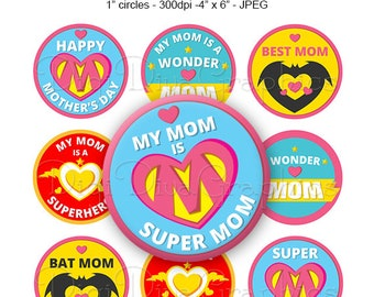SALE - SUPERMOM Mother's Day Sayings Bottle Cap Images 1 Inch Circles Digital JPG - Instant Download - BC1169