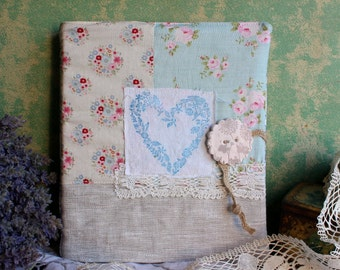 Photo album 80 photos antique French fabric floral beige blue green bird