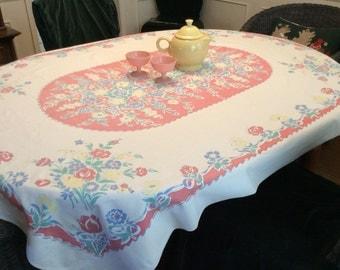 Vintage Tablecloth Spring Garden of Tulips & Daisies