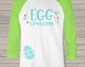 Easter eggspecting NON-MATERNITY unisex adult raglan shirt - fun pregnancy announcement shirt ESMR