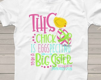 Easter big sister to be shirt - eggspecting pregnancy announcement Tshirt TCIE