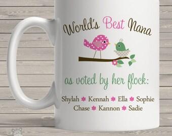 Personalized world's best nana (or grandma or grammy, etc) voted by flock coffee mug PWBNM
