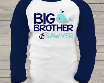 Nautical big brother shirt big brother to be nautical anchor and whale personalized raglan shirt MBEH1-001