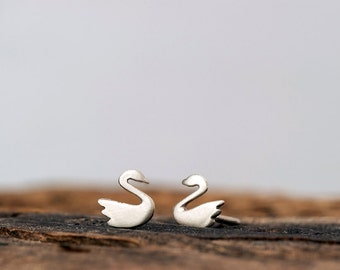 Extra Tiny Swan Earrings Gold Elephant Studs in 14k solid Gold Animal Jewelry minimal earrings dainty studs holiday earrings fall studs