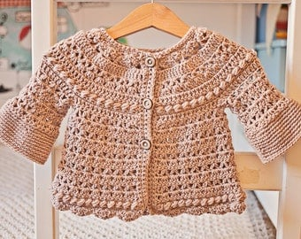 Crochet PATTERN - Bell Sleeve Cardigan (sizes baby up to 6 years)