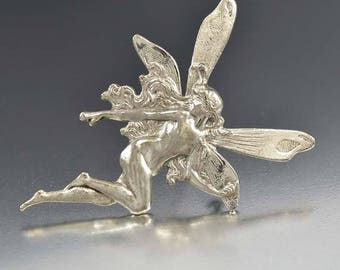 Vintage Silver Fairy Brooch, Sweetheart Pixie Brooch Pin, Friendship Pins, Best Friend Brooch Pin, Silver Fairies and Pixies Sprite Charm