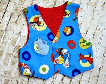 Toddler Boy Clothes - Baby Boy Clothes - Dr. Seuss Birthday - Boys Vest - Toddler Vest - Cat in the Hat - Gift - Blue - 12 mo...