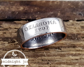 Oklahoma Coin Ring Quarter Cusotm Size Double Sided MR0705-TSTOK
