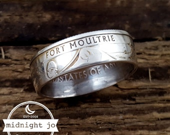 90% Silver Coin Ring Fort Moultrie National Park Quarter Ring Double Sided Coin Ring Ft Sumter Coin Ring